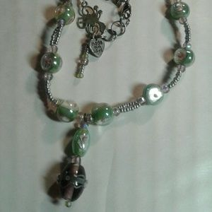 """Jewelry - """"Marble"""" lampwork beaded necklace"""